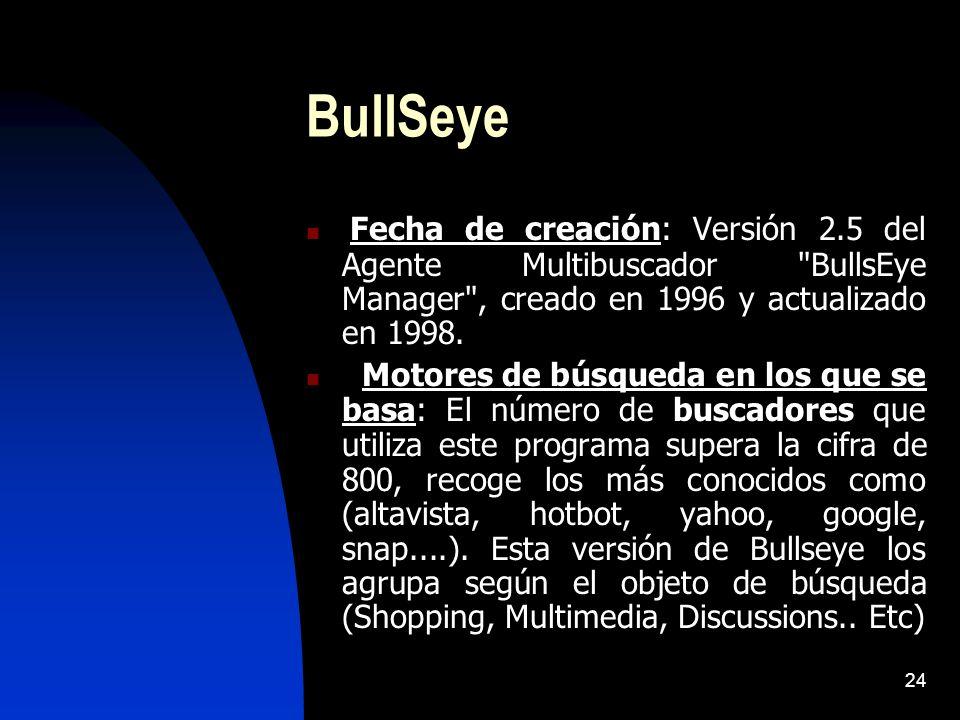 24 BullSeye Fecha de creación: Versión 2.5 del Agente Multibuscador BullsEye Manager , creado en 1996 y actualizado en 1998.