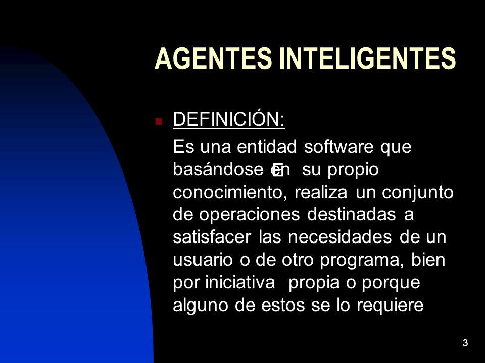 3 AGENTES INTELIGENTES DEFINICIÓN: Es una entidad software que basándose en su propio conocimiento, realiza un conjunto de operaciones destinadas a satisfacer las necesidades de un usuario o de otro programa, bien por iniciativa propia o porque alguno de estos se lo requiere E