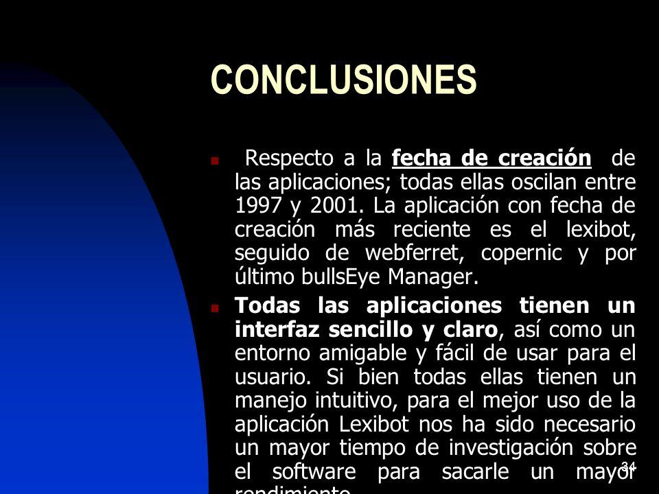 34 CONCLUSIONES Respecto a la fecha de creación de las aplicaciones; todas ellas oscilan entre 1997 y 2001. La aplicación con fecha de creación más re