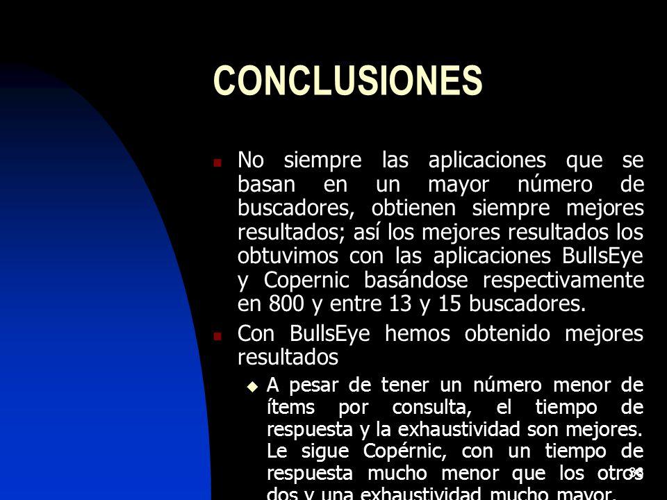 36 CONCLUSIONES No siempre las aplicaciones que se basan en un mayor número de buscadores, obtienen siempre mejores resultados; así los mejores resultados los obtuvimos con las aplicaciones BullsEye y Copernic basándose respectivamente en 800 y entre 13 y 15 buscadores.