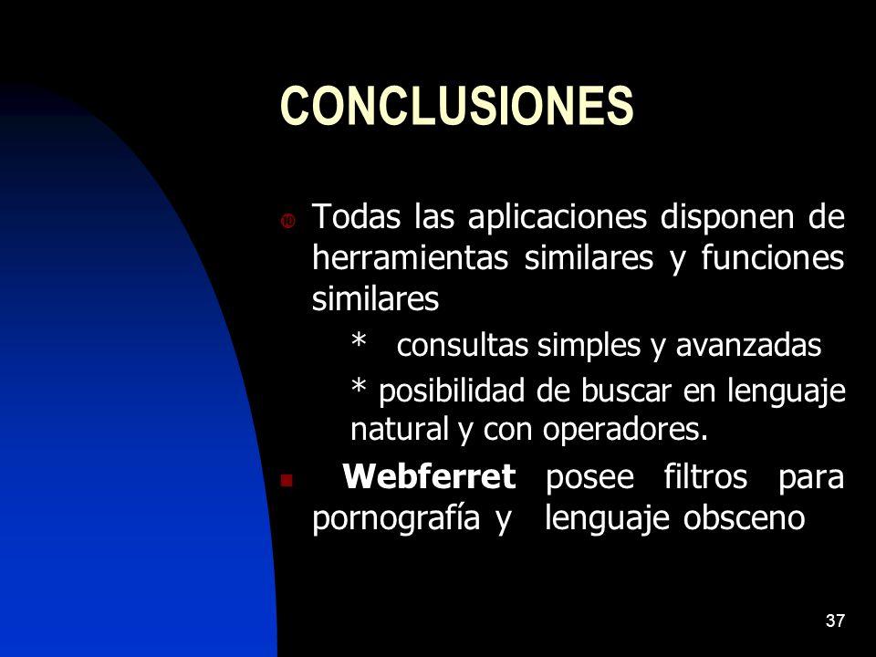 37 CONCLUSIONES Todas las aplicaciones disponen de herramientas similares y funciones similares * consultas simples y avanzadas * posibilidad de buscar en lenguaje natural y con operadores.
