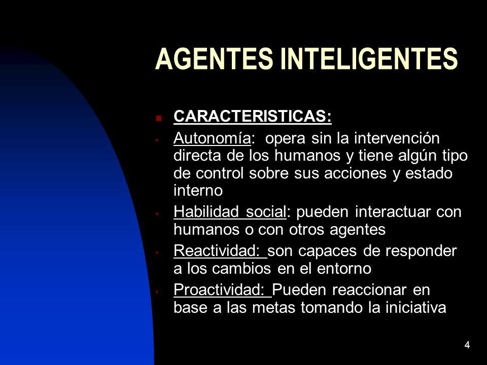 4 AGENTES INTELIGENTES CARACTERISTICAS: Autonomía: opera sin la intervención directa de los humanos y tiene algún tipo de control sobre sus acciones y