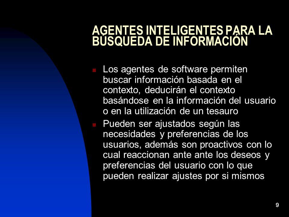 9 AGENTES INTELIGENTES PARA LA BÚSQUEDA DE INFORMACIÓN Los agentes de software permiten buscar información basada en el contexto, deducirán el context