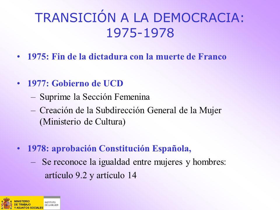 TRANSICIÓN A LA DEMOCRACIA: 1975-1978 1975: Fin de la dictadura con la muerte de Franco 1977: Gobierno de UCD –Suprime la Sección Femenina –Creación d