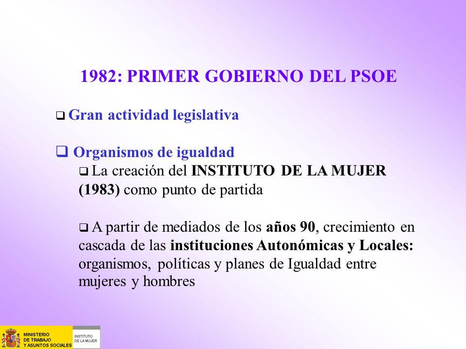 1982: PRIMER GOBIERNO DEL PSOE Gran actividad legislativa Organismos de igualdad La creación del INSTITUTO DE LA MUJER (1983) como punto de partida A