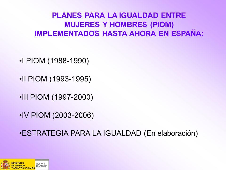 PLANES PARA LA IGUALDAD ENTRE MUJERES Y HOMBRES (PIOM) IMPLEMENTADOS HASTA AHORA EN ESPAÑA: I PIOM (1988-1990) II PIOM (1993-1995) III PIOM (1997-2000