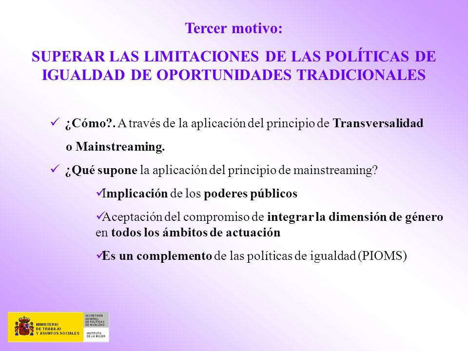 Tercer motivo: SUPERAR LAS LIMITACIONES DE LAS POLÍTICAS DE IGUALDAD DE OPORTUNIDADES TRADICIONALES ¿Cómo?. A través de la aplicación del principio de