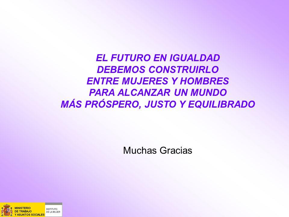 EL FUTURO EN IGUALDAD DEBEMOS CONSTRUIRLO ENTRE MUJERES Y HOMBRES PARA ALCANZAR UN MUNDO MÁS PRÓSPERO, JUSTO Y EQUILIBRADO Muchas Gracias