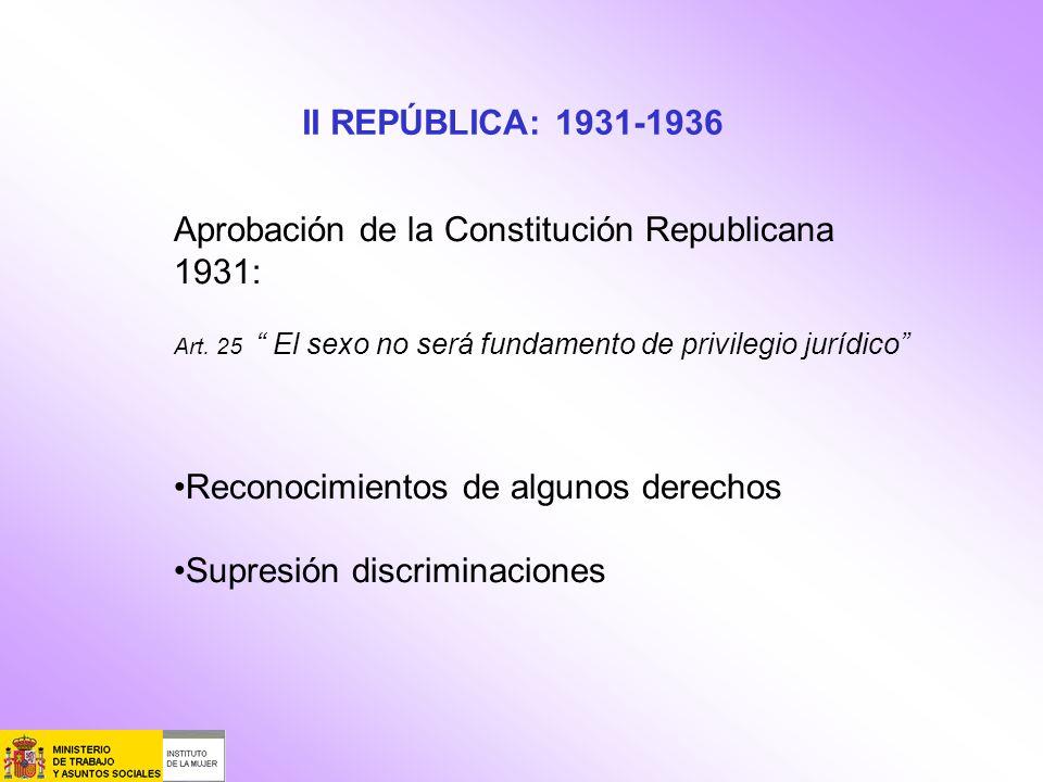 II REPÚBLICA: 1931-1936 Aprobación de la Constitución Republicana 1931: Art. 25 El sexo no será fundamento de privilegio jurídico Reconocimientos de a