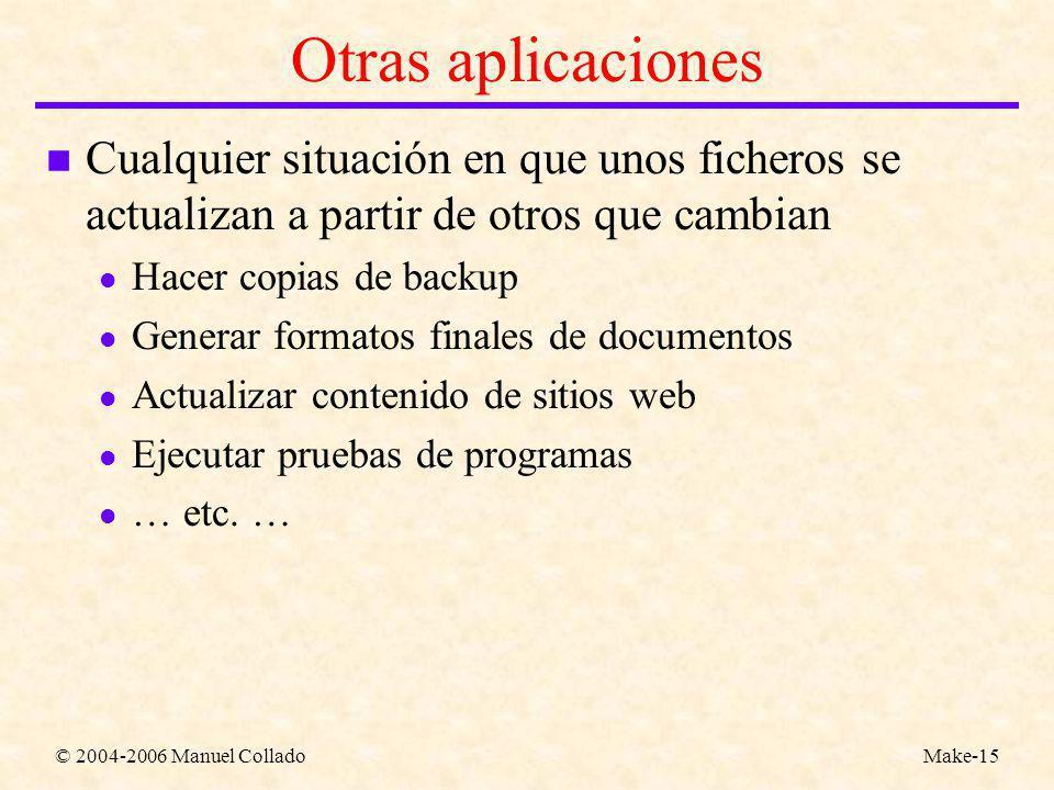© 2004-2006 Manuel ColladoMake-15 Otras aplicaciones n Cualquier situación en que unos ficheros se actualizan a partir de otros que cambian l Hacer copias de backup l Generar formatos finales de documentos l Actualizar contenido de sitios web l Ejecutar pruebas de programas l … etc.