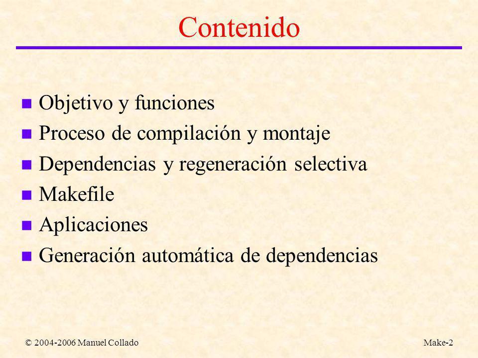 © 2004-2006 Manuel ColladoMake-2 Contenido n Objetivo y funciones n Proceso de compilación y montaje n Dependencias y regeneración selectiva n Makefile n Aplicaciones n Generación automática de dependencias