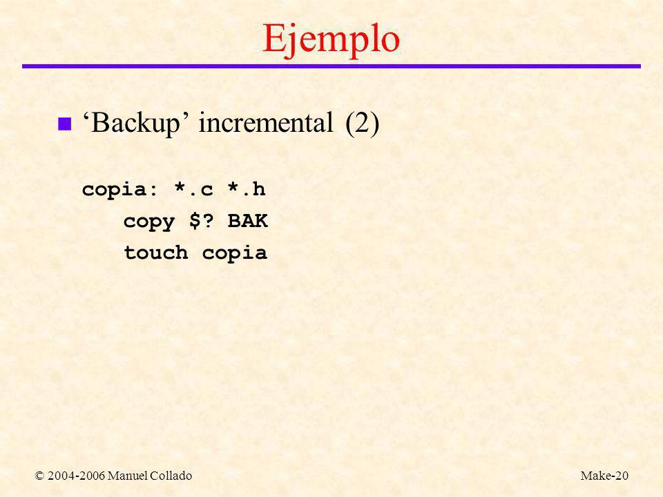 © 2004-2006 Manuel ColladoMake-20 Ejemplo n Backup incremental (2) copia: *.c *.h copy $.