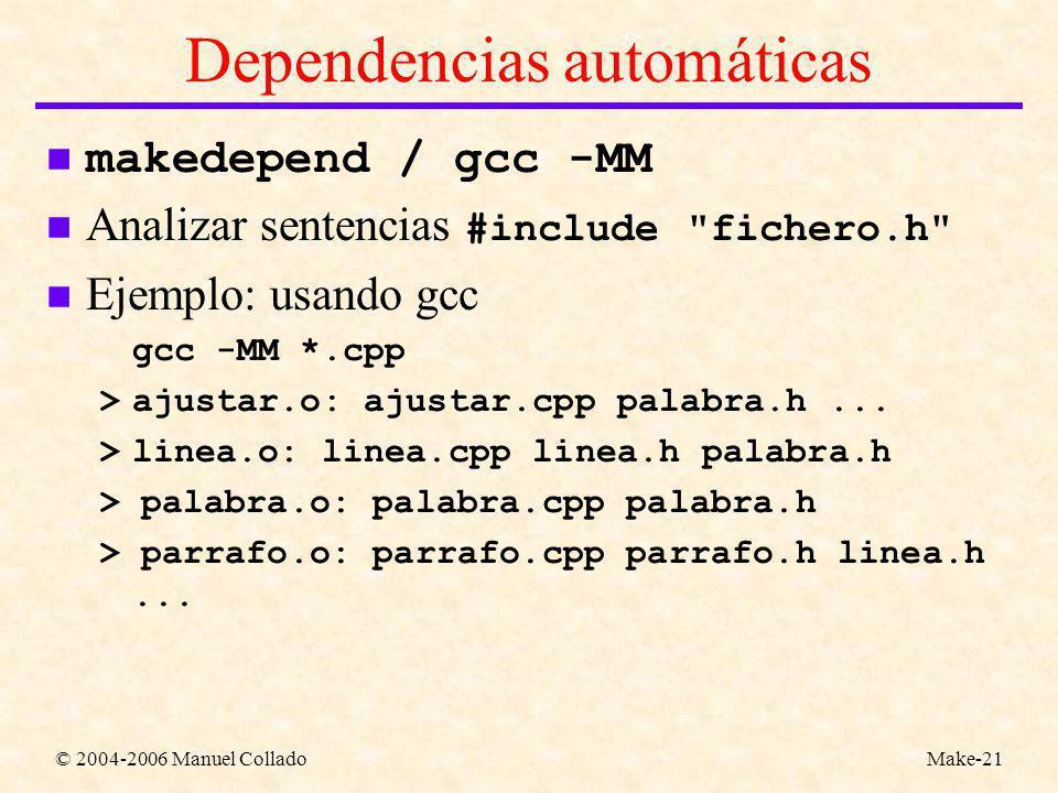 © 2004-2006 Manuel ColladoMake-21 Dependencias automáticas makedepend / gcc -MM Analizar sentencias #include fichero.h n Ejemplo: usando gcc gcc -MM *.cpp >ajustar.o: ajustar.cpp palabra.h...