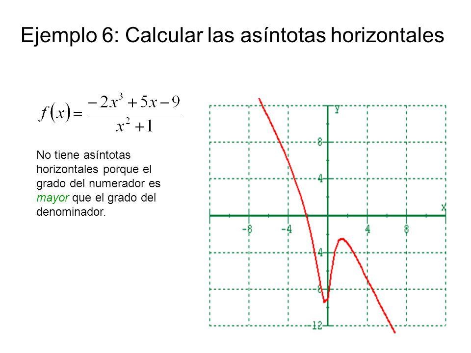 Ejemplo 6: Calcular las asíntotas horizontales No tiene asíntotas horizontales porque el grado del numerador es mayor que el grado del denominador.