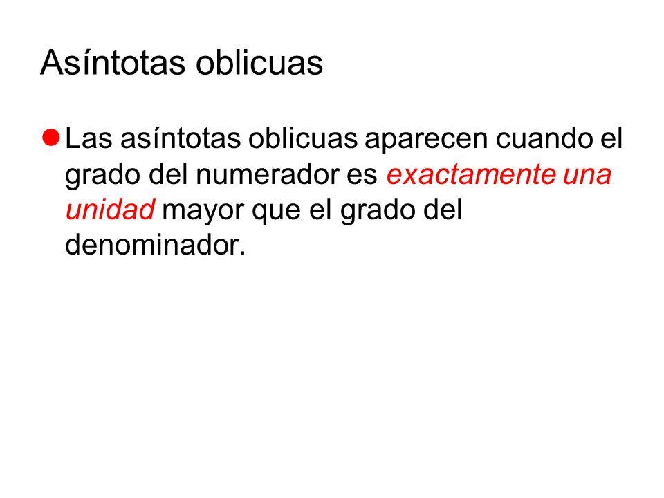 Asíntotas oblicuas Las asíntotas oblicuas aparecen cuando el grado del numerador es exactamente una unidad mayor que el grado del denominador.