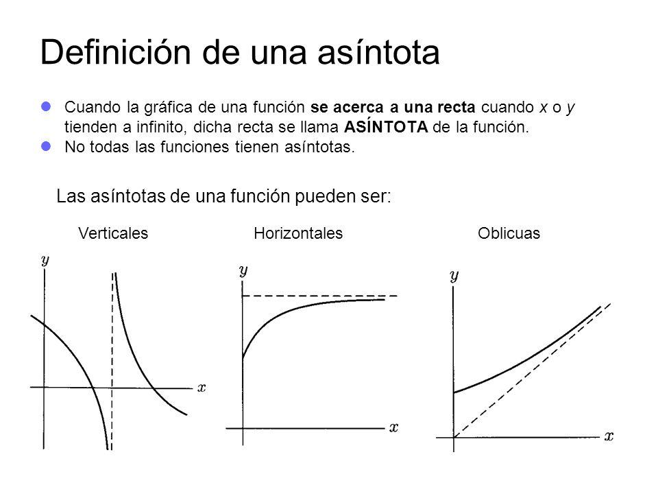 Definición de una asíntota Cuando la gráfica de una función se acerca a una recta cuando x o y tienden a infinito, dicha recta se llama ASÍNTOTA de la función.