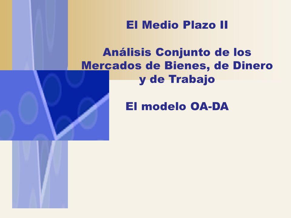 El Medio Plazo II Análisis Conjunto de los Mercados de Bienes, de Dinero y de Trabajo El modelo OA-DA