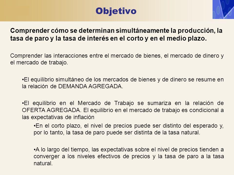 Objetivo Comprender cómo se determinan simultáneamente la producción, la tasa de paro y la tasa de interés en el corto y en el medio plazo. Comprender