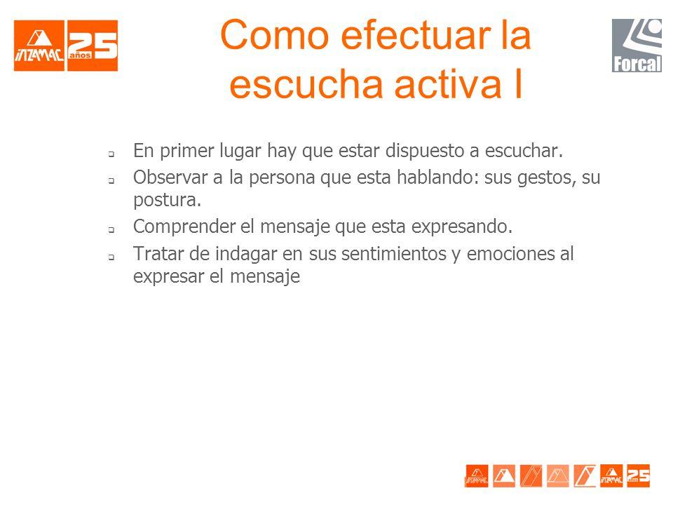 TÉCNICAS DE COMUNICACIÓN EFICAZ ESCUCHA ACTIVA: -Fundamental: Saber escuchar -La escucha activa implica comprender al que habla adoptando su punto de