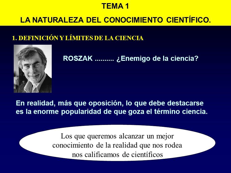 2.EL CONOCIMIENTO CIENTÍFICO Tema 1. La naturaleza del conocimiento científico.