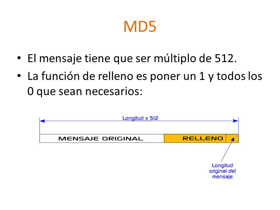 MD5 El mensaje tiene que ser múltiplo de 512. La función de relleno es poner un 1 y todos los 0 que sean necesarios: