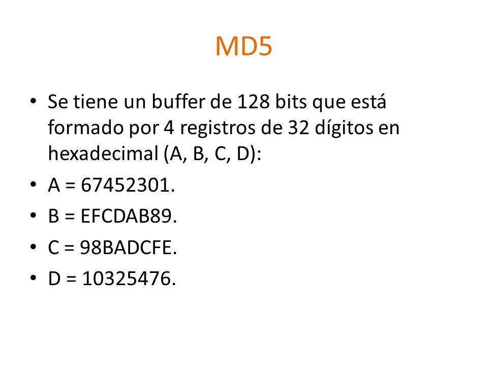 MD5 Se tiene un buffer de 128 bits que está formado por 4 registros de 32 dígitos en hexadecimal (A, B, C, D): A = 67452301.