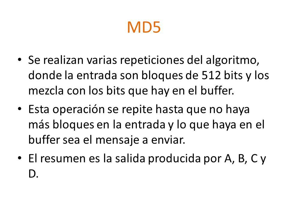 MD5 Se realizan varias repeticiones del algoritmo, donde la entrada son bloques de 512 bits y los mezcla con los bits que hay en el buffer. Esta opera