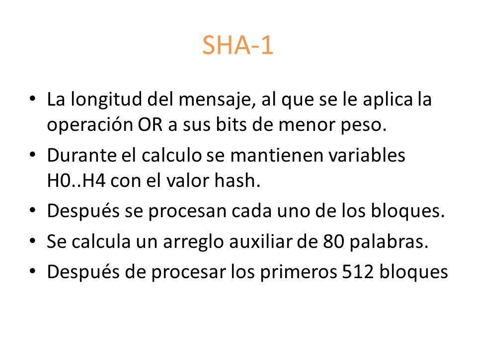 SHA-1 La longitud del mensaje, al que se le aplica la operación OR a sus bits de menor peso. Durante el calculo se mantienen variables H0..H4 con el v
