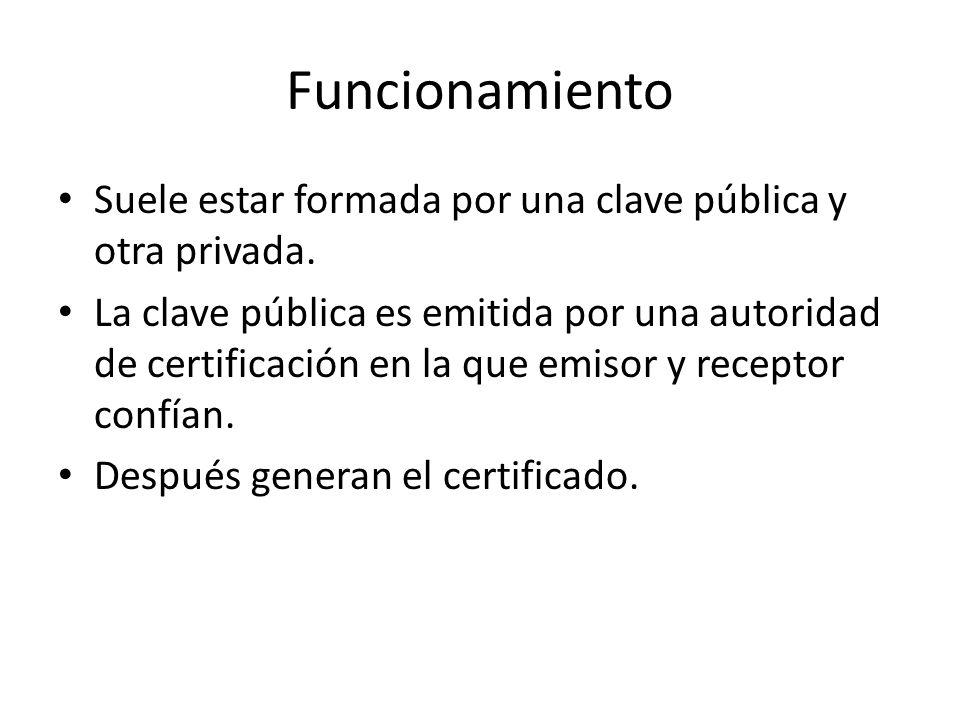 Funcionamiento Suele estar formada por una clave pública y otra privada. La clave pública es emitida por una autoridad de certificación en la que emis