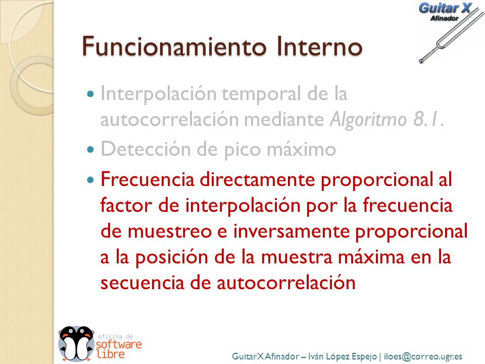 Funcionamiento Interno Interpolación temporal de la autocorrelación mediante Algoritmo 8.1. Detección de pico máximo Frecuencia directamente proporcio