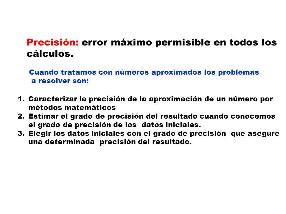 Precisión: error máximo permisible en todos los cálculos. Cuando tratamos con números aproximados los problemas a resolver son: 1.Caracterizar la prec