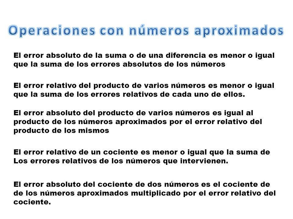 El error absoluto de la suma o de una diferencia es menor o igual que la suma de los errores absolutos de los números El error relativo del producto de varios números es menor o igual que la suma de los errores relativos de cada uno de ellos.