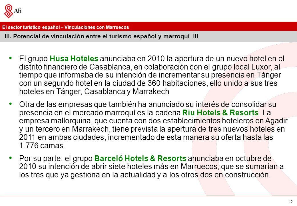 El sector turístico español – Vinculaciones con Marruecos 12 III. Potencial de vinculación entre el turismo español y marroquí III El grupo Husa Hotel