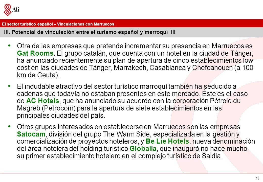 El sector turístico español – Vinculaciones con Marruecos 13 III. Potencial de vinculación entre el turismo español y marroquí III Otra de las empresa