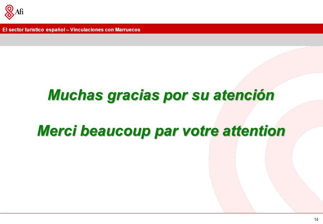 El sector turístico español – Vinculaciones con Marruecos 14 Muchas gracias por su atención Merci beaucoup par votre attention