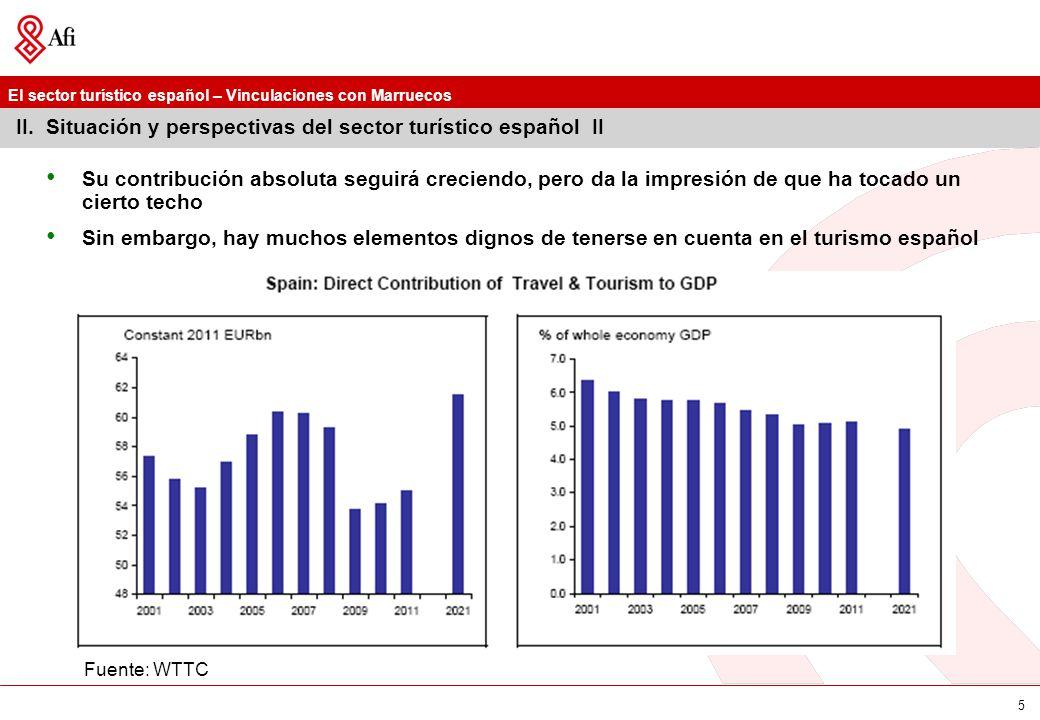 El sector turístico español – Vinculaciones con Marruecos 5 II. Situación y perspectivas del sector turístico español II Su contribución absoluta segu