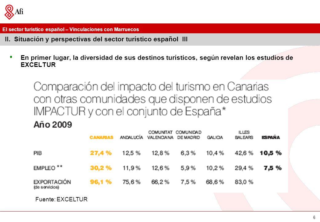 El sector turístico español – Vinculaciones con Marruecos 6 II. Situación y perspectivas del sector turístico español III En primer lugar, la diversid