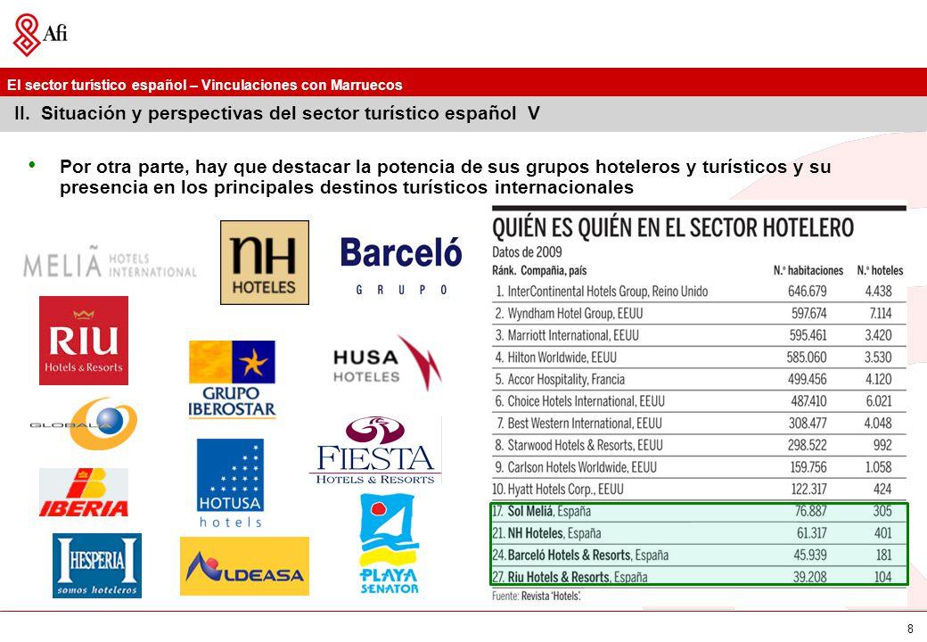 El sector turístico español – Vinculaciones con Marruecos 9 III.