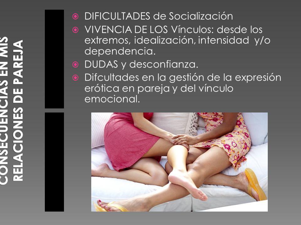 DIFICULTADES de Socialización VIVENCIA DE LOS Vínculos: desde los extremos, idealización, intensidad y/o dependencia.
