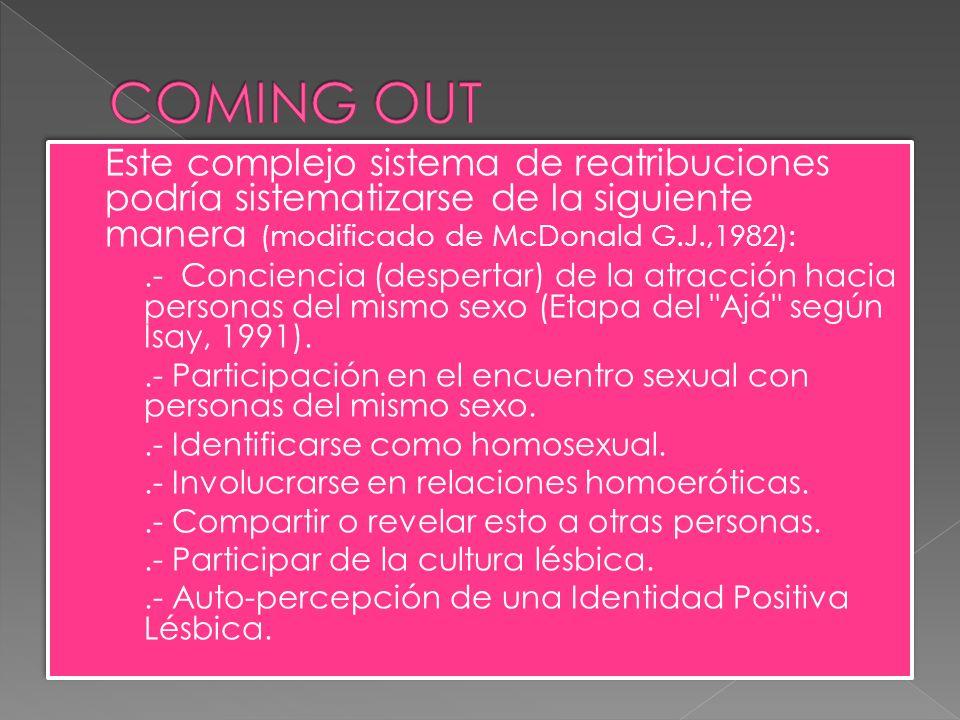 Este complejo sistema de reatribuciones podría sistematizarse de la siguiente manera (modificado de McDonald G.J.,1982):.- Conciencia (despertar) de la atracción hacia personas del mismo sexo (Etapa del Ajá según Isay, 1991)..- Participación en el encuentro sexual con personas del mismo sexo..- Identificarse como homosexual..- Involucrarse en relaciones homoeróticas..- Compartir o revelar esto a otras personas..- Participar de la cultura lésbica..- Auto-percepción de una Identidad Positiva Lésbica.