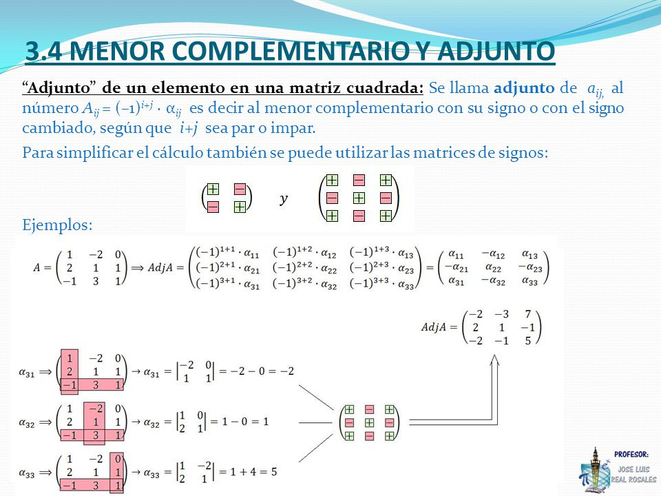 3.4 MENOR COMPLEMENTARIO Y ADJUNTO Adjunto de un elemento en una matriz cuadrada: Se llama adjunto de a ij, al número A ij = (–1) i+j α ij es decir al menor complementario con su signo o con el signo cambiado, según que i+j sea par o impar.