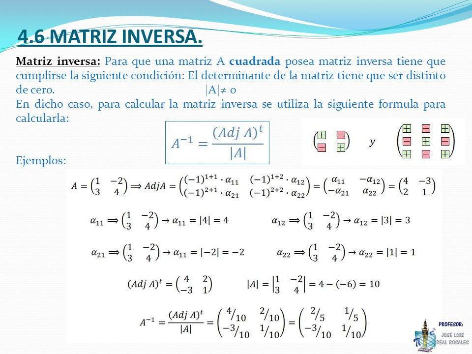 4.6 MATRIZ INVERSA.