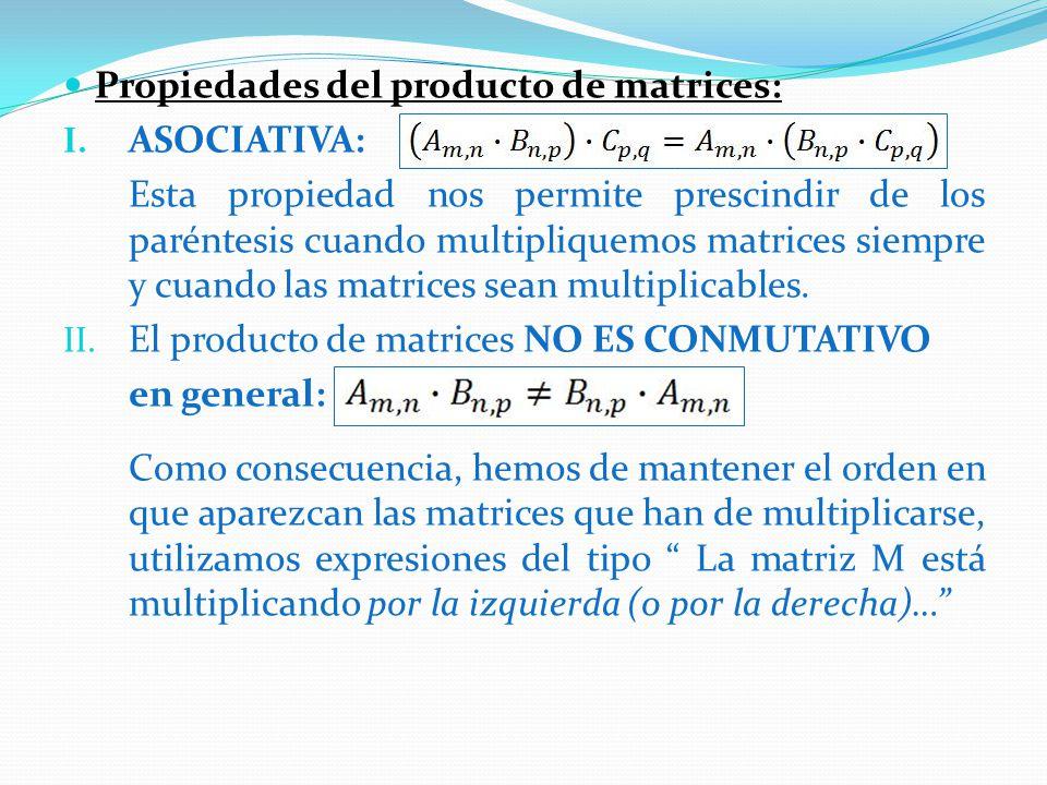 Propiedades del producto de matrices: I.