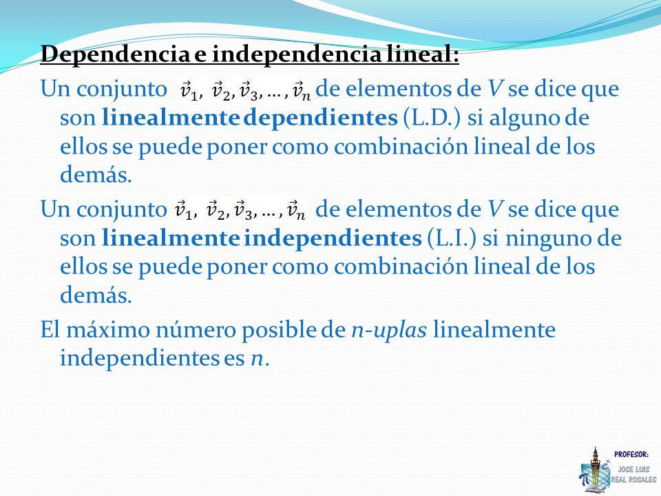 Dependencia e independencia lineal: Un conjunto de elementos de V se dice que son linealmente dependientes (L.D.) si alguno de ellos se puede poner como combinación lineal de los demás.