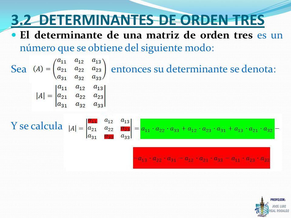 El determinante de una matriz de orden tres es un número que se obtiene del siguiente modo: Sea entonces su determinante se denota: Y se calcula: 3.2 DETERMINANTES DE ORDEN TRES