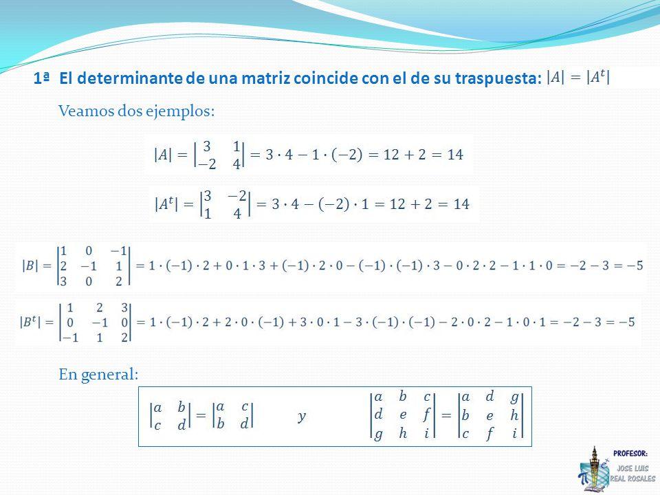 2ª Si un determinante tiene una línea (fila o columna) de ceros, entonces su determinante es cero: Veamos tres ejemplos: En general: