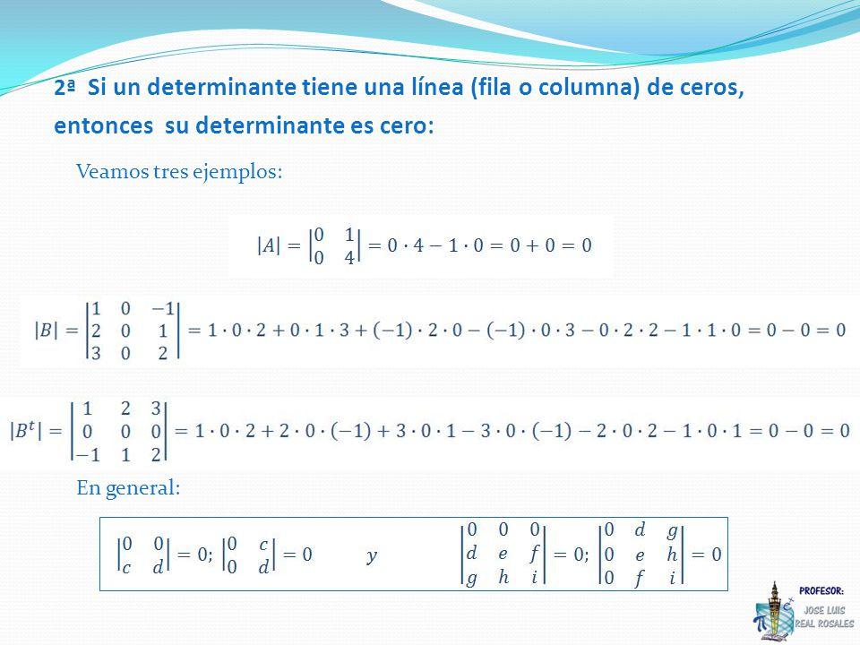 3ª Si permutamos dos filas (o dos columnas) de una matriz, su determinante cambia de signo: Veamos dos ejemplos: En general: