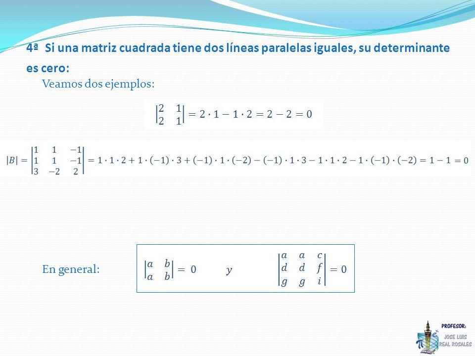 4ª Si una matriz cuadrada tiene dos líneas paralelas iguales, su determinante es cero: Veamos dos ejemplos: En general: