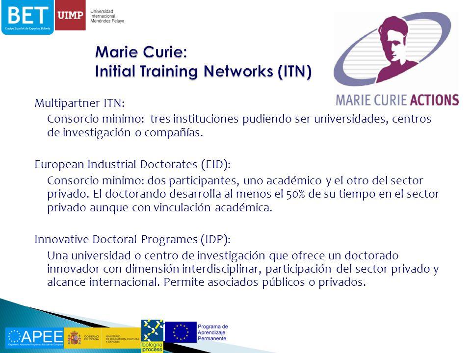 Multipartner ITN: Consorcio minimo: tres instituciones pudiendo ser universidades, centros de investigación o compañías.