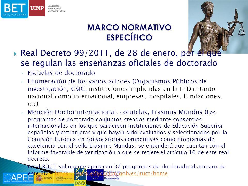Ordenes de las Consejerías de Educación Decretos, etc… Consecuencias – grandes disparidades Ejemplo: tasas de tutela por elaboración de tesis Junta de Andalucía: 59,26 http://www.juntadeandalucia.es/eboja/2012/142/BOJA1 2-142-00065-12708-01_00011147.pdf http://www.juntadeandalucia.es/eboja/2012/142/BOJA1 2-142-00065-12708-01_00011147.pdf Junta de Comunidades CLM – 100,07 www.uclm.es/doc/?id=UCLMDOCID-12-732 Generalitat: 389,76 http://portaldogc.gencat.cat/utilsEADOP/PDF/6169/125 3048.pdf http://portaldogc.gencat.cat/utilsEADOP/PDF/6169/125 3048.pdf